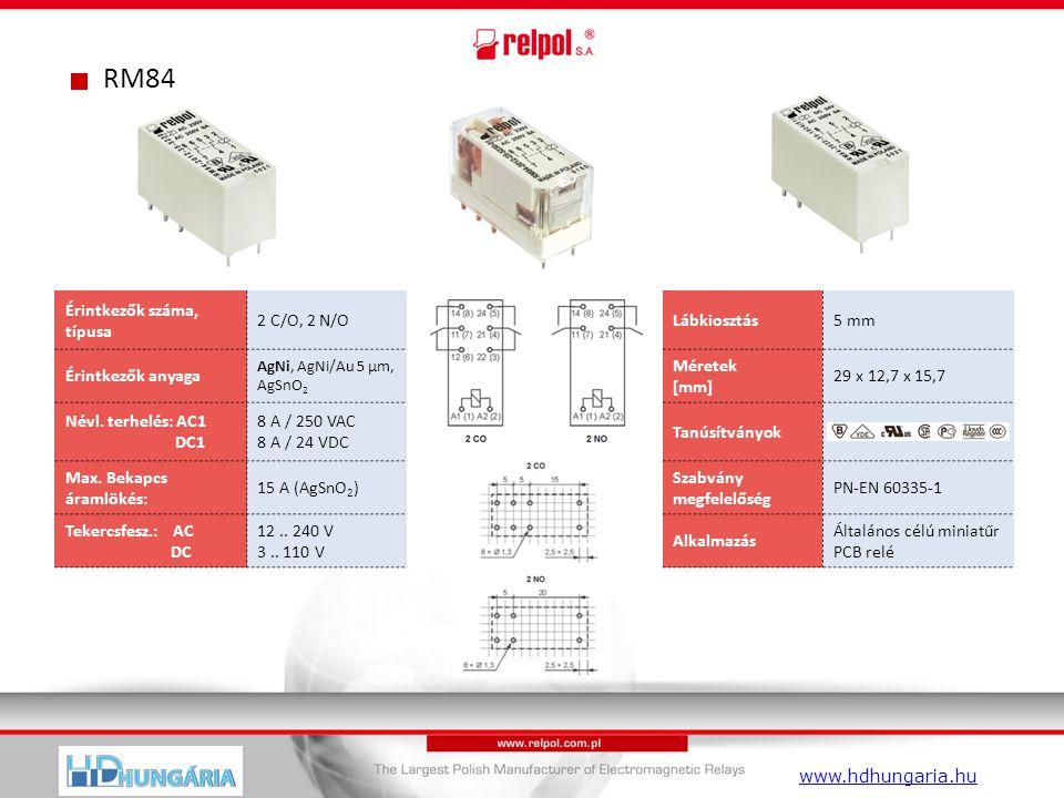 RM84 Érintkezők száma, típusa 2 C/O, 2 N/OLábkiosztás5 mm Érintkezők anyaga AgNi, AgNi/Au 5 µm, AgSnO 2 Méretek [mm] 29 x 12,7 x 15,7 Névl.