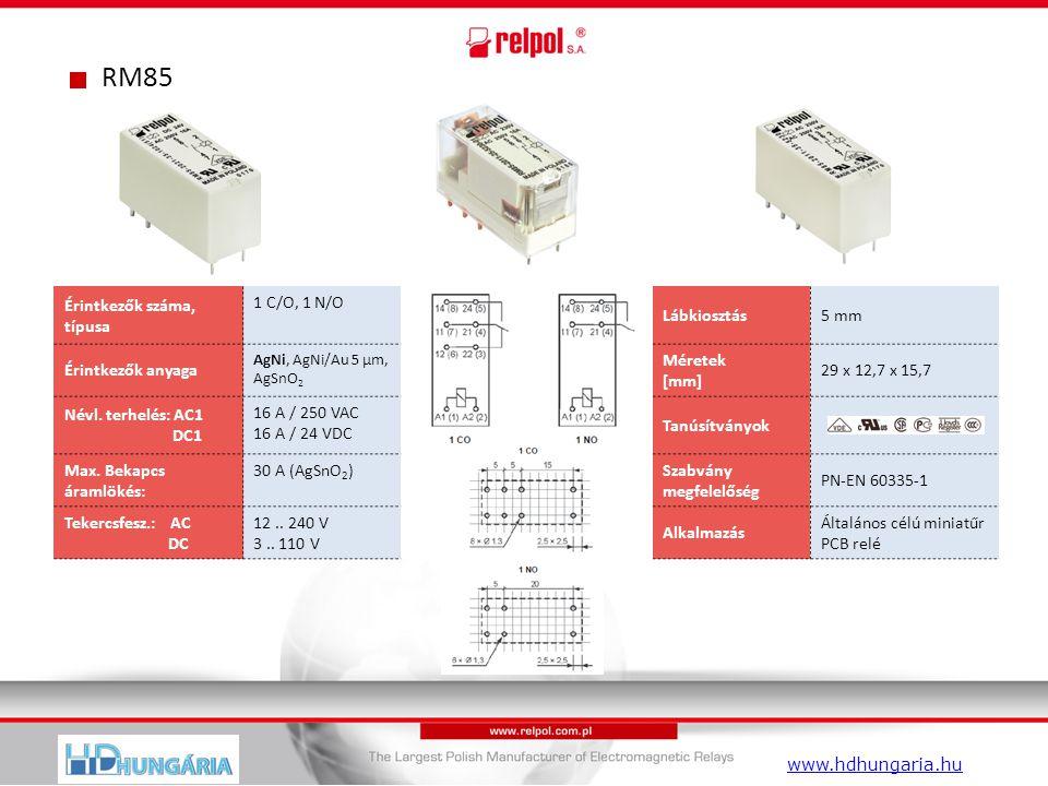 RM85 Érintkezők száma, típusa 1 C/O, 1 N/O Lábkiosztás5 mm Érintkezők anyaga AgNi, AgNi/Au 5 µm, AgSnO 2 Méretek [mm] 29 x 12,7 x 15,7 Névl.