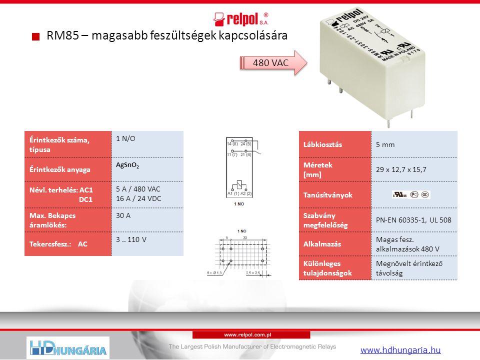 RM85 – magasabb feszültségek kapcsolására Érintkezők száma, típusa 1 N/O Lábkiosztás5 mm Érintkezők anyaga AgSnO 2 Méretek [mm] 29 x 12,7 x 15,7 Névl.