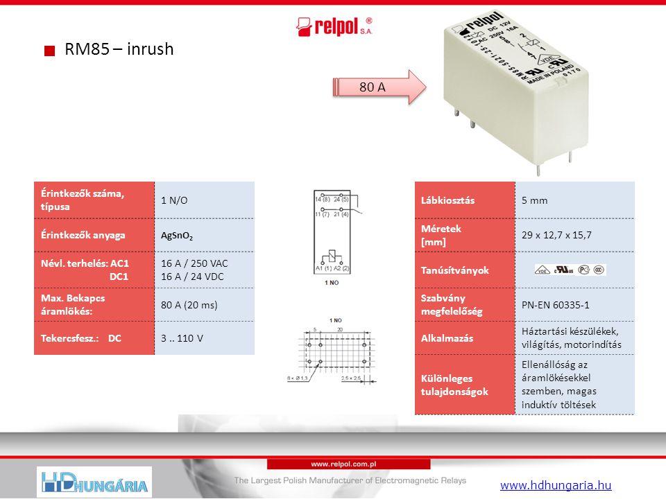 RM85 – inrush Érintkezők száma, típusa 1 N/OLábkiosztás5 mm Érintkezők anyaga AgSnO 2 Méretek [mm] 29 x 12,7 x 15,7 Névl.