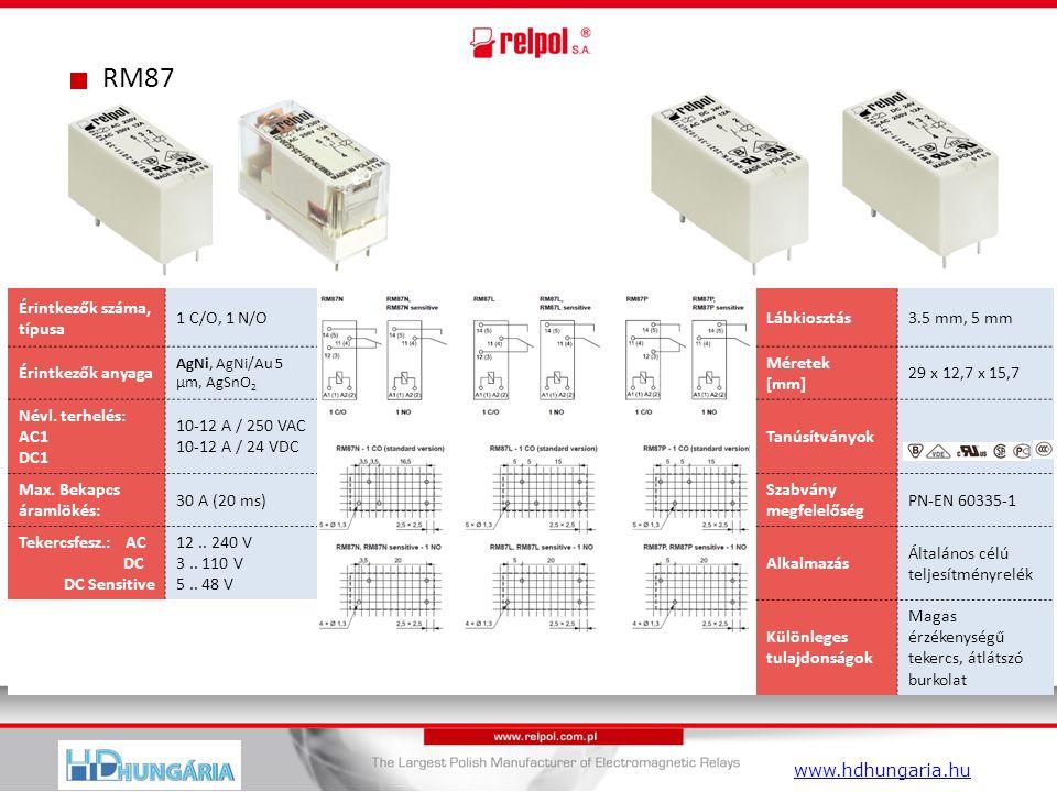 RM87 Érintkezők száma, típusa 1 C/O, 1 N/OLábkiosztás3.5 mm, 5 mm Érintkezők anyaga AgNi, AgNi/Au 5 µm, AgSnO 2 Méretek [mm] 29 x 12,7 x 15,7 Névl.
