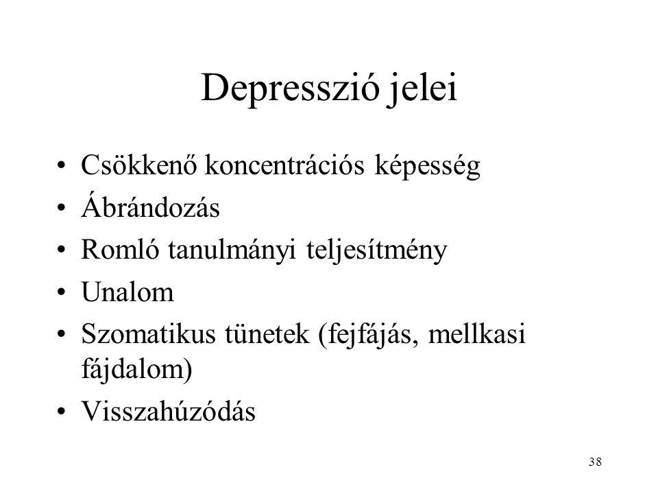 38 Depresszió jelei Csökkenő koncentrációs képesség Ábrándozás Romló tanulmányi teljesítmény Unalom Szomatikus tünetek (fejfájás, mellkasi fájdalom) V