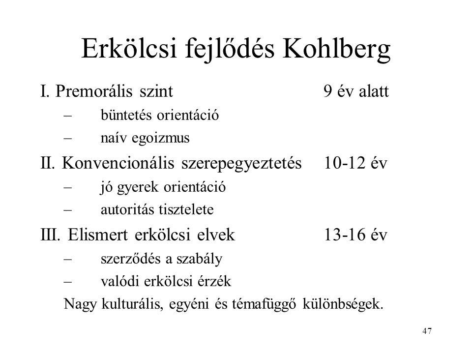 47 Erkölcsi fejlődés Kohlberg I. Premorális szint9 év alatt –büntetés orientáció –naív egoizmus II. Konvencionális szerepegyeztetés10-12 év –jó gyerek