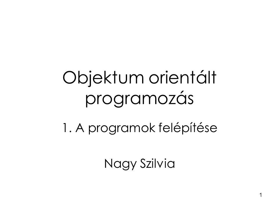 1 Objektum orientált programozás 1. A programok felépítése Nagy Szilvia