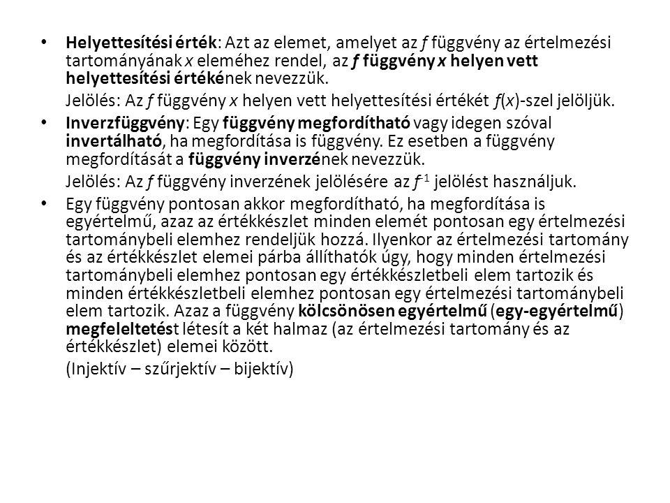 Függvények Függvény: Adottak az A (alaphalmaz) és K (képhalmaz) nem üres halmazok.