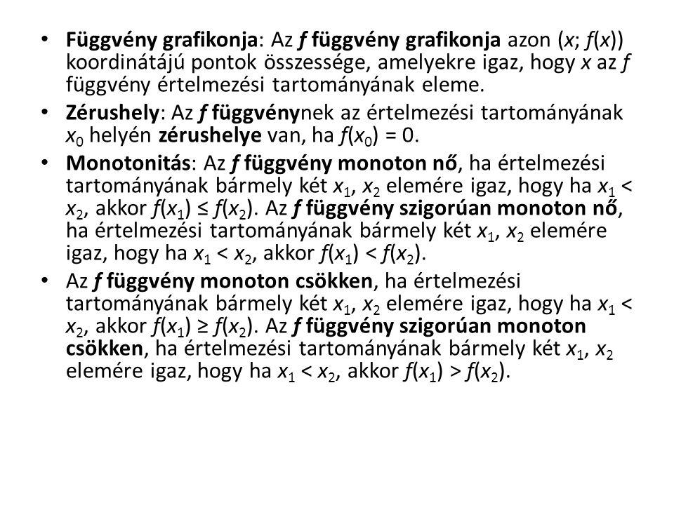 Helyettesítési érték: Azt az elemet, amelyet az f függvény az értelmezési tartományának x eleméhez rendel, az f függvény x helyen vett helyettesítési értékének nevezzük.