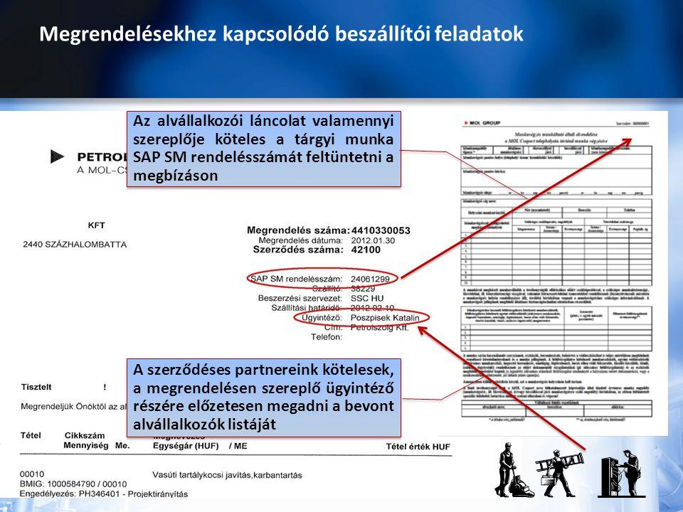 Megrendelésekhez kapcsolódó beszállítói feladatok Az alvállalkozói láncolat valamennyi szereplője köteles a tárgyi munka SAP SM rendelésszámát feltünt