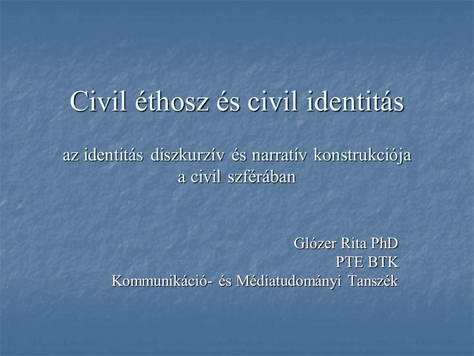 Civil éthosz és civil identitás az identitás diszkurzív és narratív konstrukciója a civil szférában Glózer Rita PhD PTE BTK Kommunikáció- és Médiatudományi Tanszék