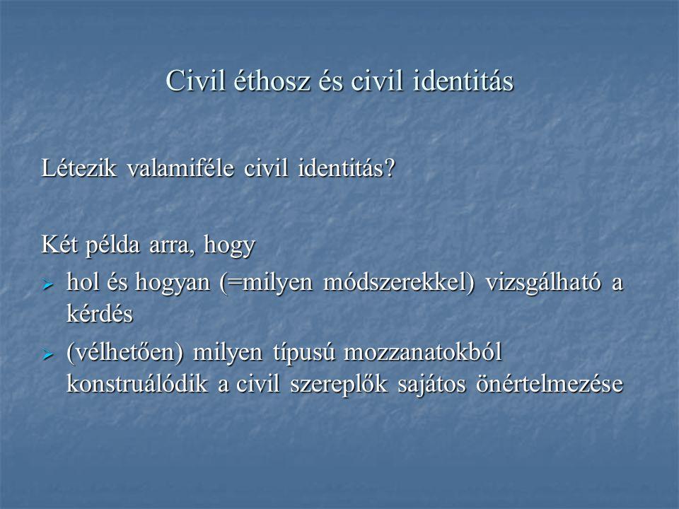 Civil éthosz és civil identitás Létezik valamiféle civil identitás.