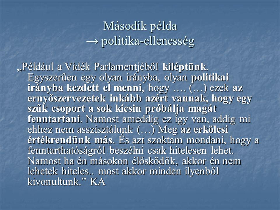"""Második példa → politika-ellenesség """"Például a Vidék Parlamentjéből kiléptünk."""