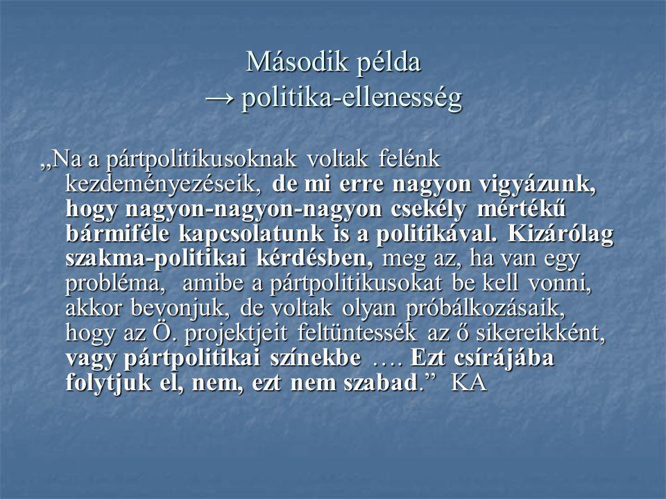 """Második példa → politika-ellenesség """"Na a pártpolitikusoknak voltak felénk kezdeményezéseik, de mi erre nagyon vigyázunk, hogy nagyon-nagyon-nagyon csekély mértékű bármiféle kapcsolatunk is a politikával."""