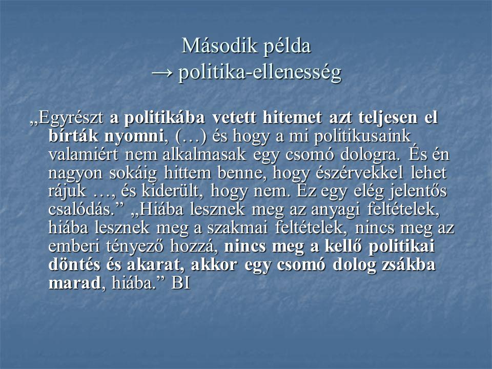 """Második példa → politika-ellenesség """"Egyrészt a politikába vetett hitemet azt teljesen el bírták nyomni, (…) és hogy a mi politikusaink valamiért nem alkalmasak egy csomó dologra."""