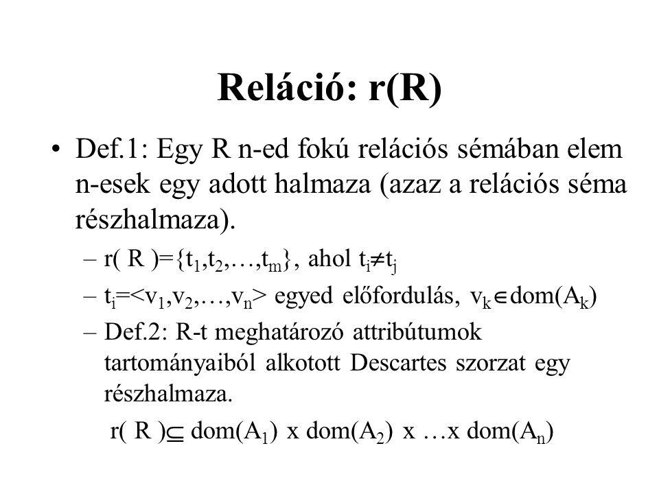Reláció: r(R) Def.1: Egy R n-ed fokú relációs sémában elem n-esek egy adott halmaza (azaz a relációs séma részhalmaza). –r( R )={t 1,t 2,…,t m }, ahol