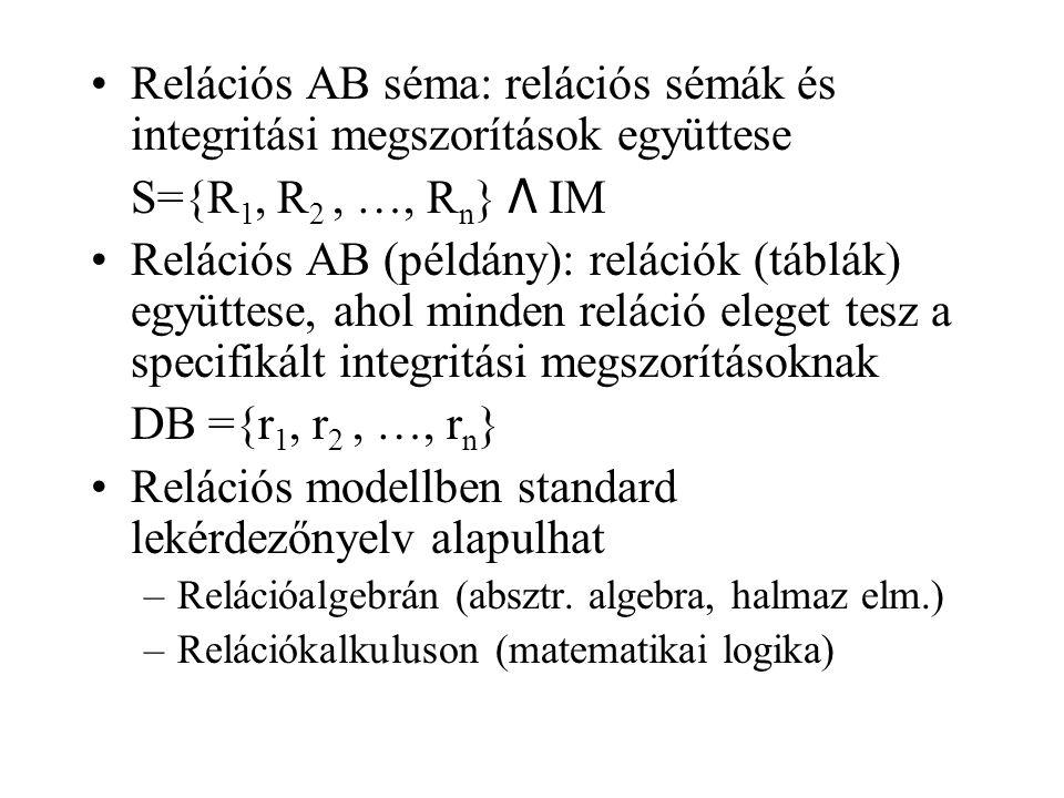 Relációs AB séma: relációs sémák és integritási megszorítások együttese S={R 1, R 2, …, R n } Λ IM Relációs AB (példány): relációk (táblák) együttese,