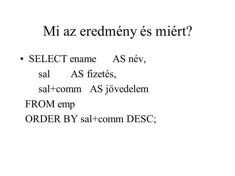Mi az eredmény és miért? SELECT ename AS név, sal AS fizetés, sal+comm AS jövedelem FROM emp ORDER BY sal+comm DESC;