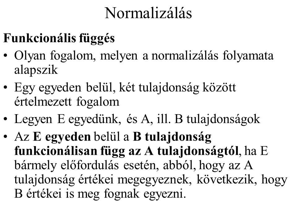 Normalizálás Funkcionális függés Olyan fogalom, melyen a normalizálás folyamata alapszik Egy egyeden belül, két tulajdonság között értelmezett fogalom