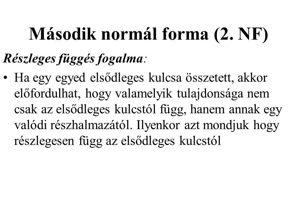 Második normál forma (2. NF) Részleges függés fogalma: Ha egy egyed elsődleges kulcsa összetett, akkor előfordulhat, hogy valamelyik tulajdonsága nem