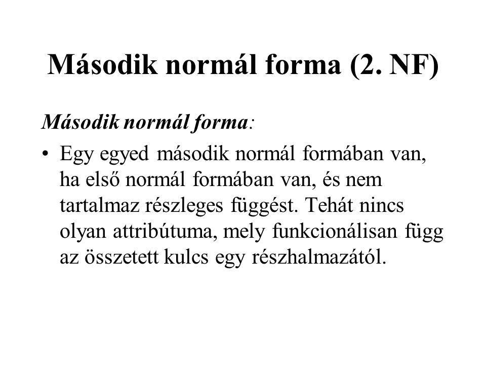 Második normál forma (2. NF) Második normál forma: Egy egyed második normál formában van, ha első normál formában van, és nem tartalmaz részleges függ