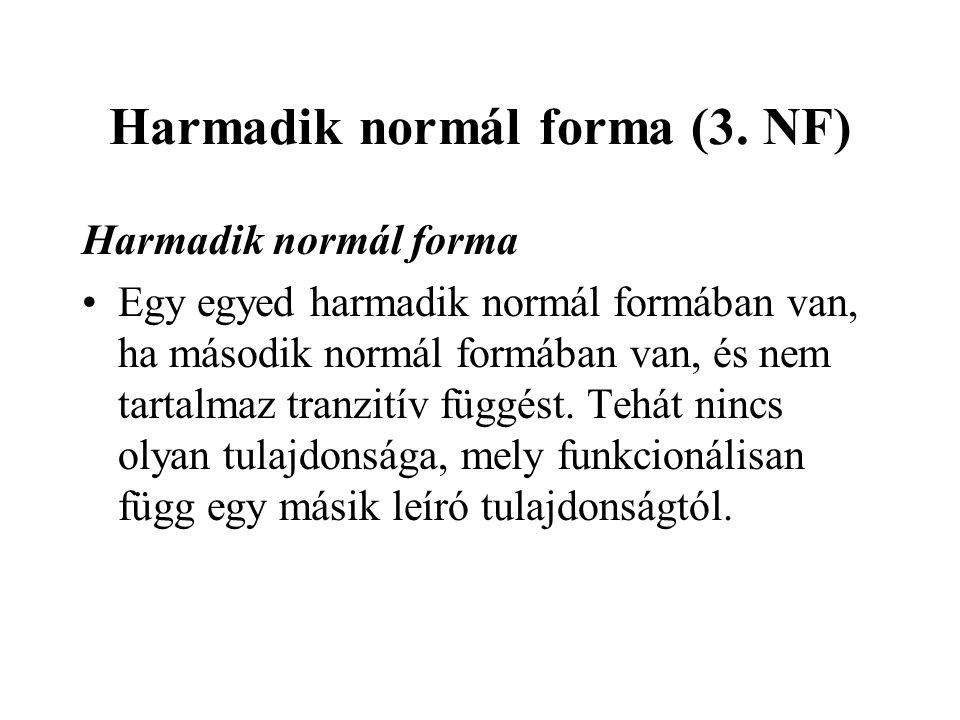 Harmadik normál forma (3. NF) Harmadik normál forma Egy egyed harmadik normál formában van, ha második normál formában van, és nem tartalmaz tranzitív