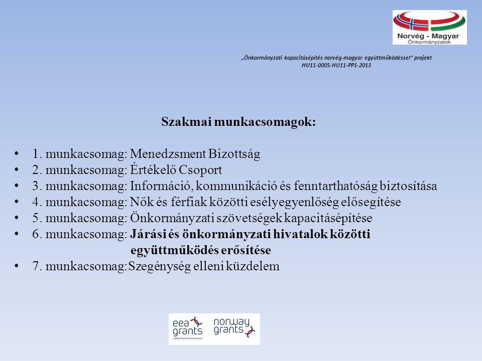 Szakmai munkacsomagok: 1. munkacsomag: Menedzsment Bizottság 2. munkacsomag: Értékelő Csoport 3. munkacsomag: Információ, kommunikáció és fenntartható
