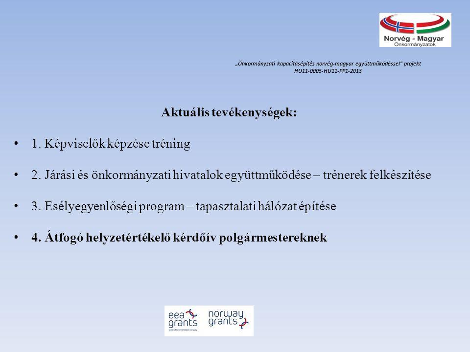 Aktuális tevékenységek: 1. Képviselők képzése tréning 2. Járási és önkormányzati hivatalok együttműködése – trénerek felkészítése 3. Esélyegyenlőségi