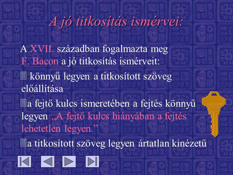 A jó titkosítás ismérvei: A XVII. században fogalmazta meg F. Bacon a jó titkosítás ismérveit: 3 könnyű legyen a titkosított szöveg előállítása 3a fej