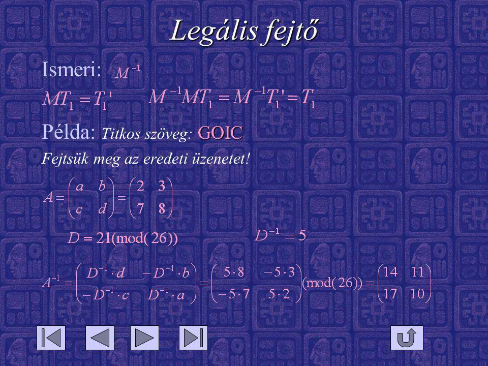 Legális fejtő Ismeri: GOIC Példa: Titkos szöveg: GOIC Fejtsük meg az eredeti üzenetet!