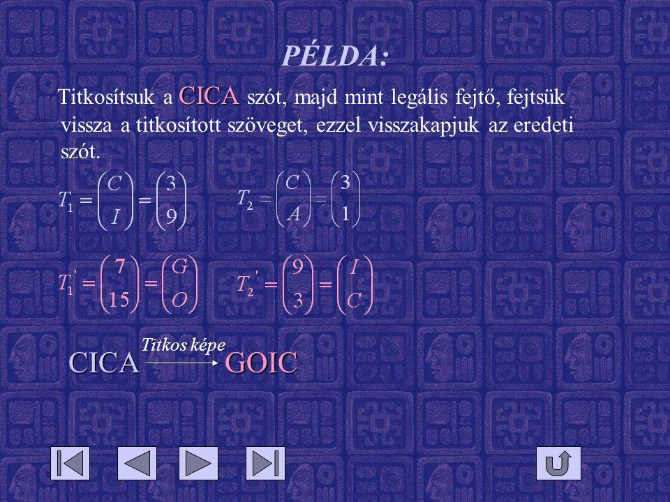 PÉLDA: CICA Titkosítsuk a CICA szót, majd mint legális fejtő, fejtsük vissza a titkosított szöveget, ezzel visszakapjuk az eredeti szót. CICAGOIC Titk