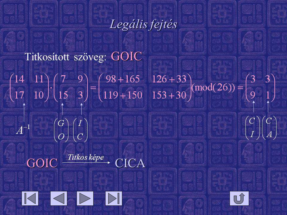 Legális fejtés GOIC Titkosított szöveg: GOIC GOIC CICA Titkos képe