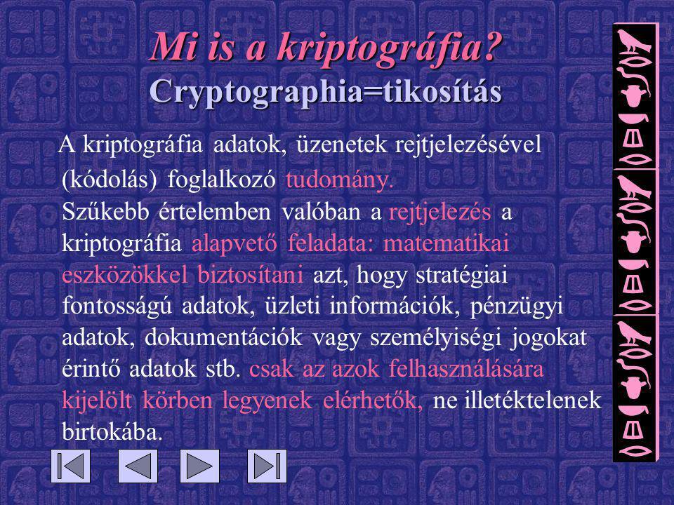 Mi is a kriptográfia? Cryptographia=tikosítás A kriptográfia adatok, üzenetek rejtjelezésével (kódolás) foglalkozó tudomány. Szűkebb értelemben valóba