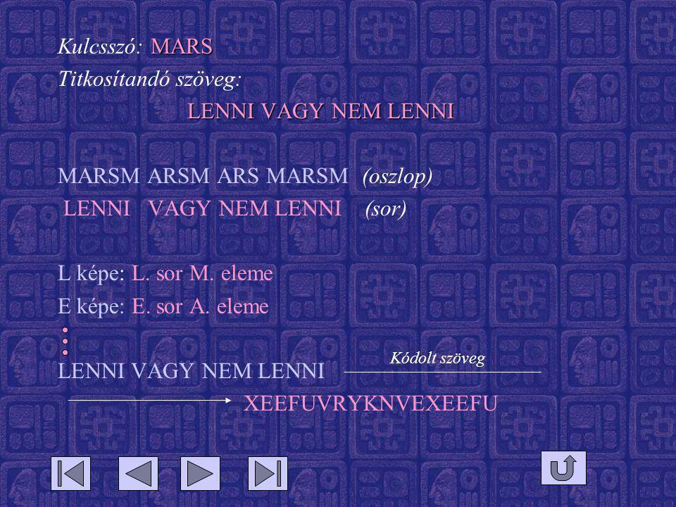 MARS Kulcsszó: MARS Titkosítandó szöveg: LENNI VAGY NEM LENNI MARSM ARSM ARS MARSM (oszlop) LENNI VAGY NEM LENNI (sor) L képe: L. sor M. eleme E képe: