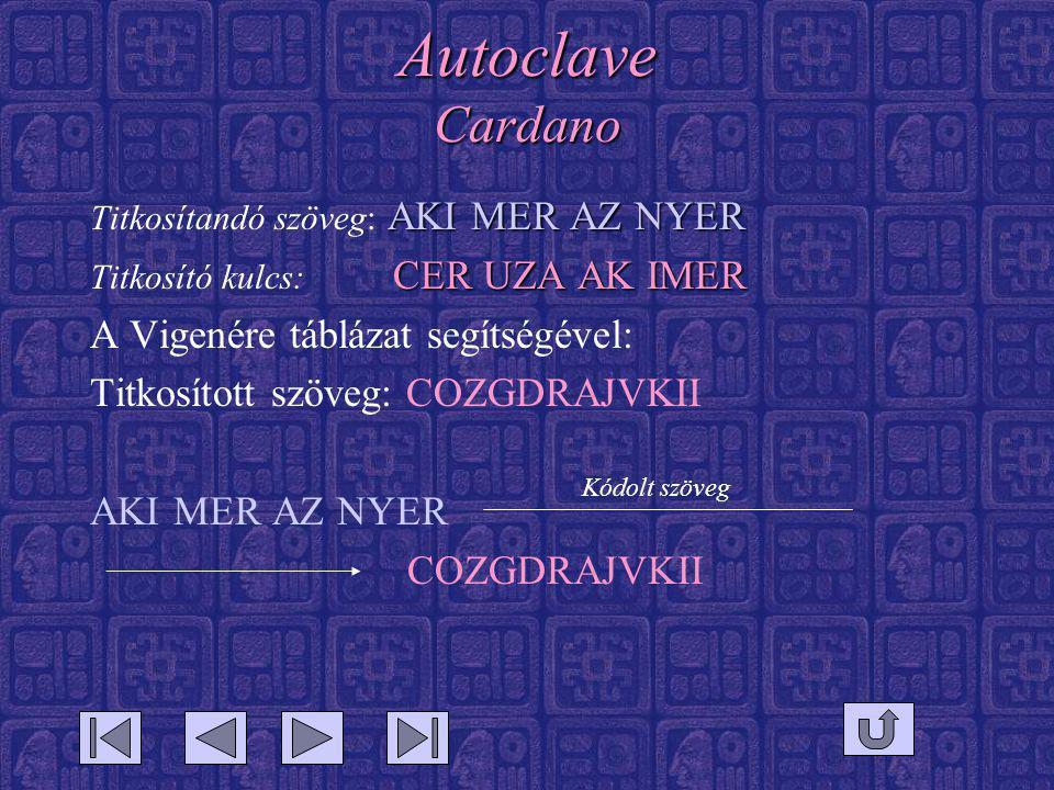 Autoclave Cardano AKI MER AZ NYER Titkosítandó szöveg: AKI MER AZ NYER CER UZA AK IMER Titkosító kulcs: CER UZA AK IMER A Vigenére táblázat segítségével: Titkosított szöveg: COZGDRAJVKII AKI MER AZ NYER COZGDRAJVKII Kódolt szöveg
