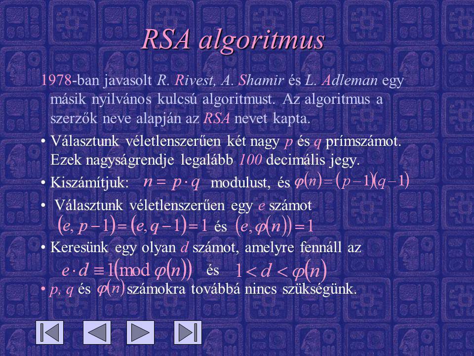 RSA algoritmus 1978-ban javasolt R. Rivest, A. Shamir és L. Adleman egy másik nyilvános kulcsú algoritmust. Az algoritmus a szerzők neve alapján az RS