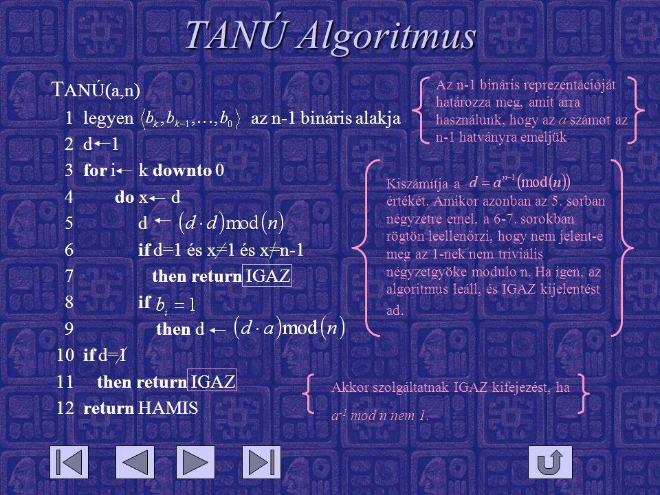 TANÚ Algoritmus T ANÚ(a,n) 1 legyen az n-1 bináris alakja 2 d 1 3 for i k downto 0 4 do x d 5 d 6 if d=1 és x=1 és x=n-1 7 then return IGAZ 8 if 9 then d 10 if d=1 11 then return IGAZ 12 return HAMIS a Az n-1 bináris reprezentációját határozza meg, amit arra használunk, hogy az a számot az n-1 hatványra emeljük.