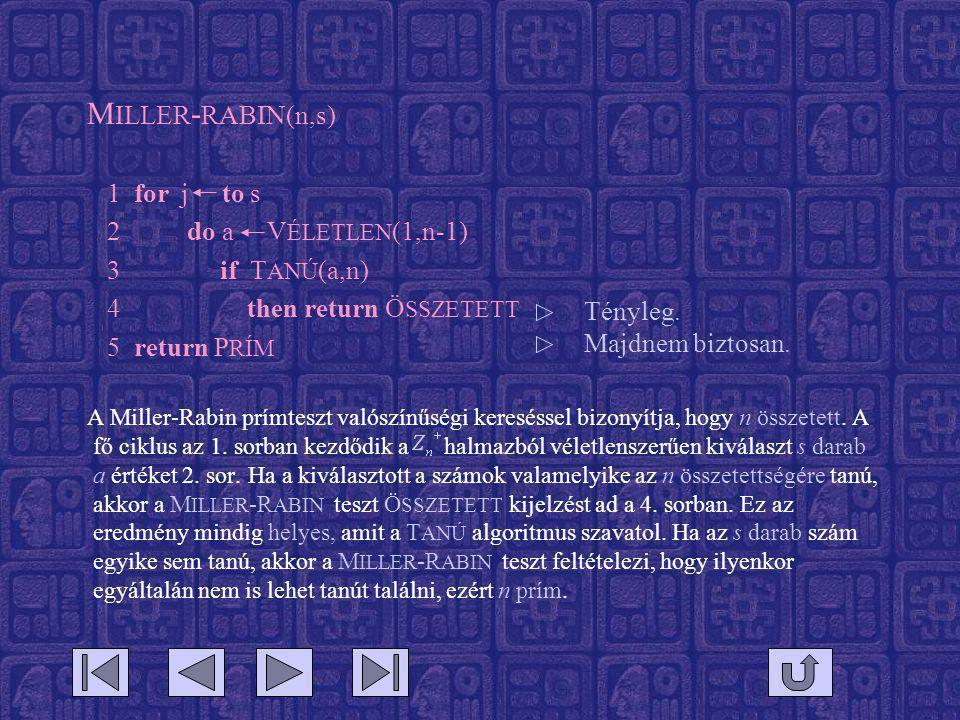 M ILLER - RABIN(n,s) 1 for j to s 2 do a V ÉLETLEN (1,n-1) 3 if T ANÚ (a,n) 4 then return Ö SSZETETT 5 return P RÍM A Miller-Rabin prímteszt valószínűségi kereséssel bizonyítja, hogy n összetett.