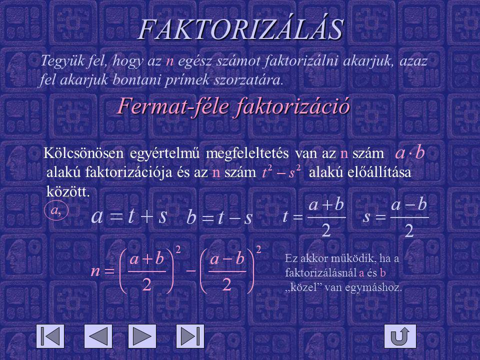 FAKTORIZÁLÁS Kölcsönösen egyértelmű megfeleltetés van az n szám alakú faktorizációja és az n szám alakú előállítása között. Tegyük fel, hogy az n egés