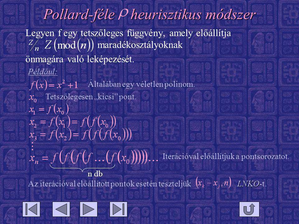Pollard-féle heurisztikus módszer Legyen f egy tetszőleges függvény, amely előállítja maradékosztályoknak önmagára való leképezését.