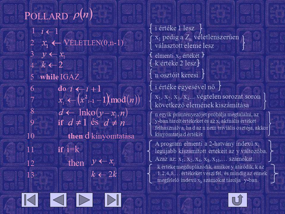 P OLLARD 1 2 V ÉLETLEN (0,n-1) 3 4 5 while IGAZ 6 do 7 8 9 if 10 then d kinyomtatása 11 if i=k 12 then 13 lnko és i értéke 1 lesz x 1 pedig a Z n véletlenszerűen választott eleme lesz n osztóit keresi x 1, x 2, x 3, x 4...