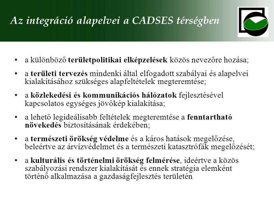 Az integráció alapelvei a CADSES térségben a különböző területpolitikai elképzelések közös nevezőre hozása; a területi tervezés mindenki által elfogadott szabályai és alapelvei kialakításához szükséges alapfeltételek megteremtése; a közlekedési és kommunikációs hálózatok fejlesztésével kapcsolatos egységes jövőkép kialakítása; a lehető legideálisabb feltételek megteremtése a fenntartható növekedés biztosításának érdekében; a természeti örökség védelme és a káros hatások megelőzése, beleértve az árvízvédelmet és a természeti katasztrófák megelőzését; a kulturális és történelmi örökség felmérése, ideértve a közös szabályozási rendszer kialakítását és ennek stratégia elemként történő alkalmazása a gazdaságfejlesztés területén