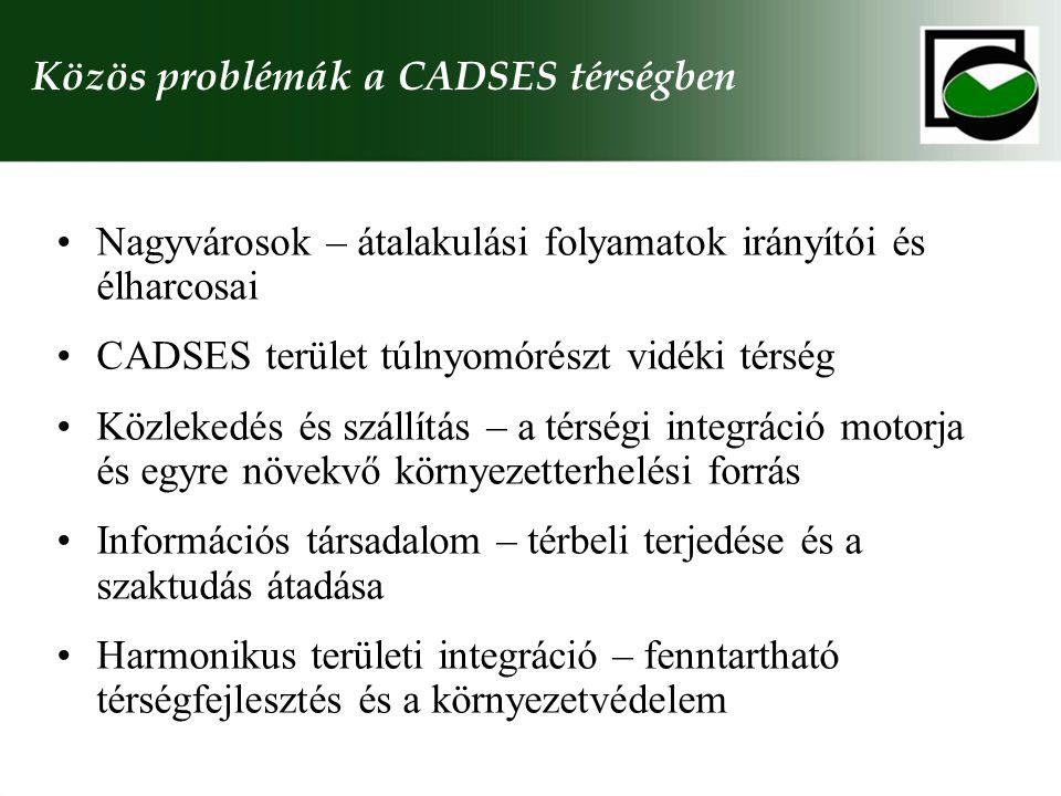 Közös problémák a CADSES térségben Nagyvárosok – átalakulási folyamatok irányítói és élharcosai CADSES terület túlnyomórészt vidéki térség Közlekedés és szállítás – a térségi integráció motorja és egyre növekvő környezetterhelési forrás Információs társadalom – térbeli terjedése és a szaktudás átadása Harmonikus területi integráció – fenntartható térségfejlesztés és a környezetvédelem