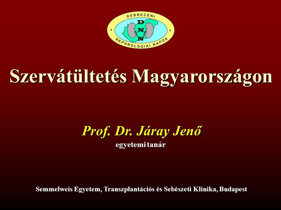 Szervátültetés Magyarországon Prof. Dr. Járay Jenő egyetemi tanár Semmelweis Egyetem, Transzplantációs és Sebészeti Klinika, Budapest