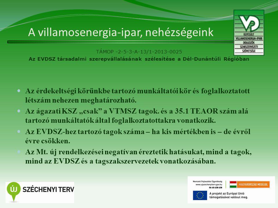 A villamosenergia-ipar, nehézségeink TÁMOP -2-5-3-A-13/1-2013-0025 Az EVDSZ társadalmi szerepvállalásának szélesítése a Dél-Dunántúli Régióban Az érdekeltségi körünkbe tartozó munkáltatói kör és foglalkoztatott létszám nehezen meghatározható.