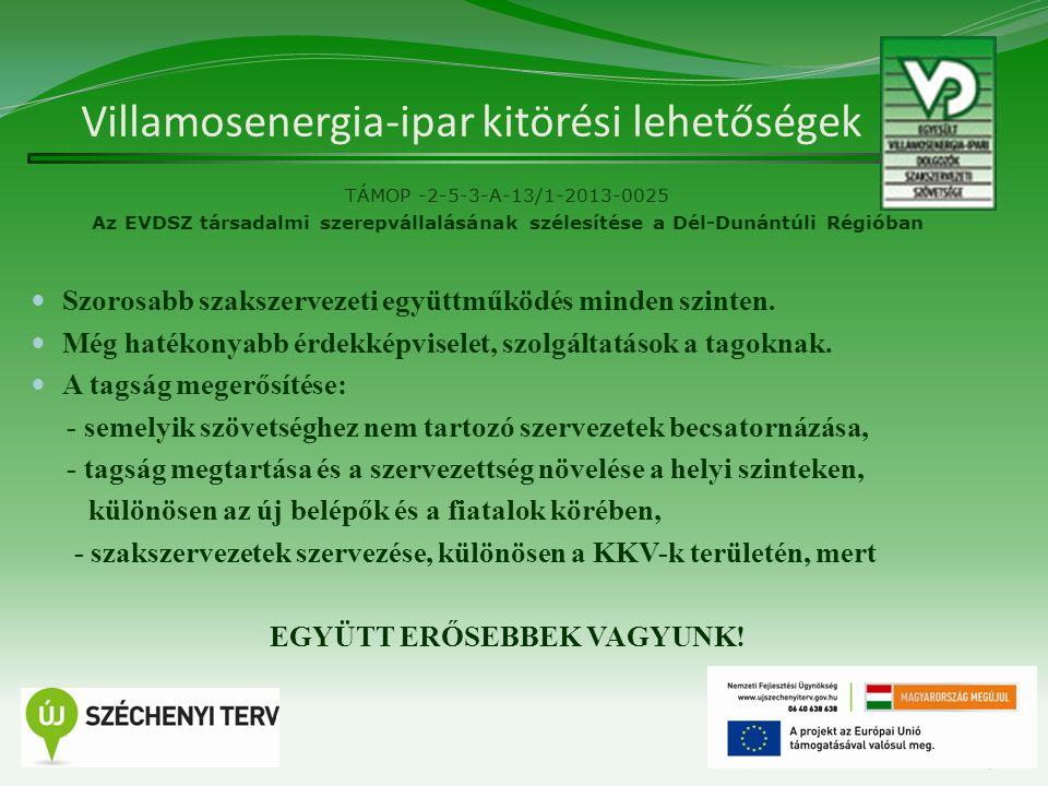 Villamosenergia-ipar kitörési lehetőségek TÁMOP -2-5-3-A-13/1-2013-0025 Az EVDSZ társadalmi szerepvállalásának szélesítése a Dél-Dunántúli Régióban Szorosabb szakszervezeti együttműködés minden szinten.