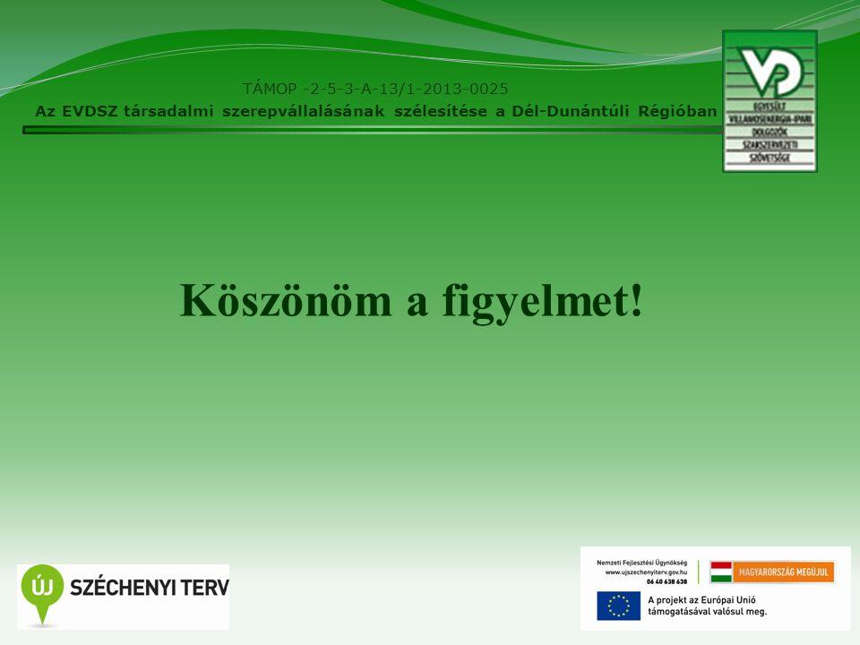 14 TÁMOP -2-5-3-A-13/1-2013-0025 Az EVDSZ társadalmi szerepvállalásának szélesítése a Dél-Dunántúli Régióban Köszönöm a figyelmet!