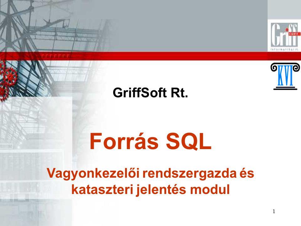 1 GriffSoft Rt. Vagyonkezelői rendszergazda és kataszteri jelentés modul Forrás SQL