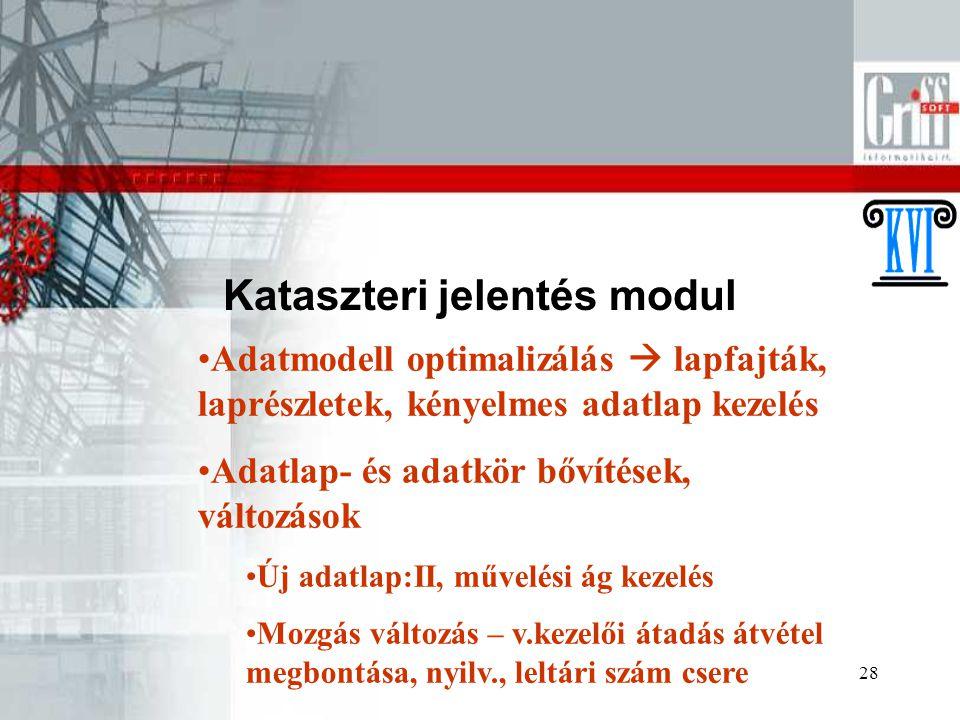 28 Kataszteri jelentés modul Adatmodell optimalizálás  lapfajták, laprészletek, kényelmes adatlap kezelés Adatlap- és adatkör bővítések, változások Új adatlap:II, művelési ág kezelés Mozgás változás – v.kezelői átadás átvétel megbontása, nyilv., leltári szám csere