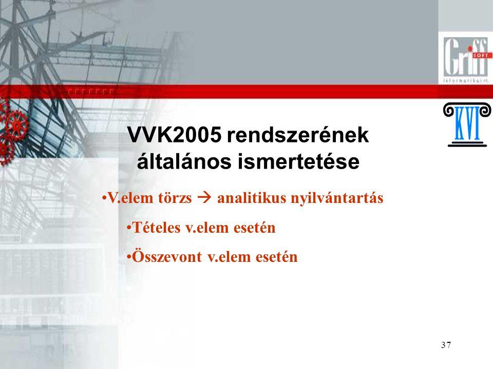 37 VVK2005 rendszerének általános ismertetése V.elem törzs  analitikus nyilvántartás Tételes v.elem esetén Összevont v.elem esetén