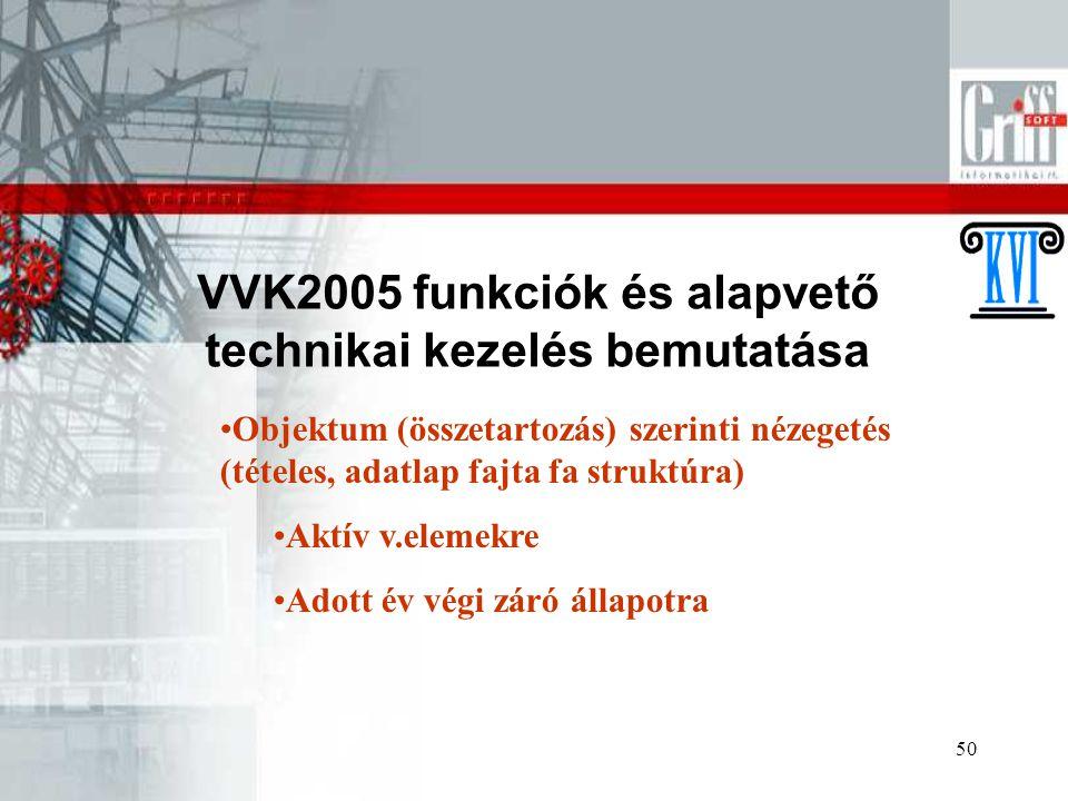 50 VVK2005 funkciók és alapvető technikai kezelés bemutatása Objektum (összetartozás) szerinti nézegetés (tételes, adatlap fajta fa struktúra) Aktív v.elemekre Adott év végi záró állapotra