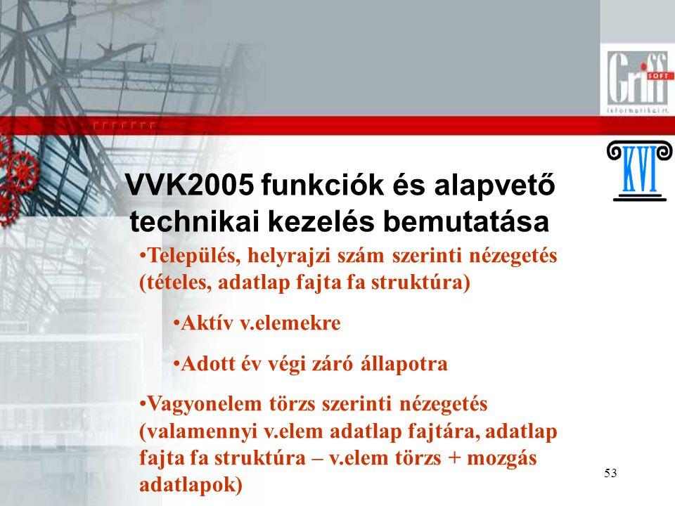 53 VVK2005 funkciók és alapvető technikai kezelés bemutatása Település, helyrajzi szám szerinti nézegetés (tételes, adatlap fajta fa struktúra) Aktív v.elemekre Adott év végi záró állapotra Vagyonelem törzs szerinti nézegetés (valamennyi v.elem adatlap fajtára, adatlap fajta fa struktúra – v.elem törzs + mozgás adatlapok)