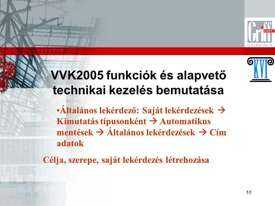 55 VVK2005 funkciók és alapvető technikai kezelés bemutatása Általános lekérdező: Saját lekérdezések  Kimutatás típusonként  Automatikus mentések  Általános lekérdezések  Cím adatok Célja, szerepe, saját lekérdezés létrehozása